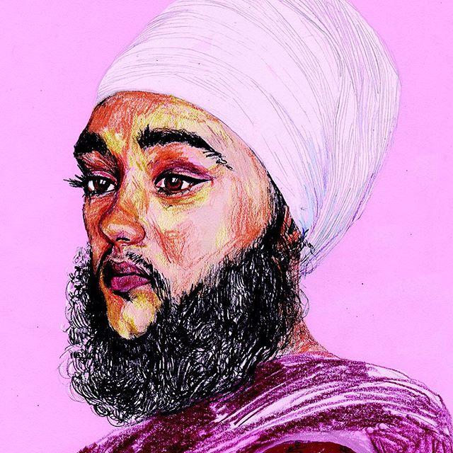 "HARNAAM KAUR - AN ILLUSTRATION BY LOUISE BYNG  Birmingham, UK ""After following Harnaam Kaur's story in the media I wanted to reflect my impression of her with a portrait - one exhibiting power, grace and femininity. She exuded radiance and love in the face of shallow questions from TV hosts about how she would find love as a heterosexual female with a beard as a result as a polycystic ovary. She wasn't constructing her identity to be attractive to others and that must have scared the shit out of them. I admired that her faith was what had put an end to her shaving the facial hair away and that had helped give her peace in embracing who she was, which shone out of her like a beacon to women everywhere....."" Read more here http://ow.ly/UUgiY"