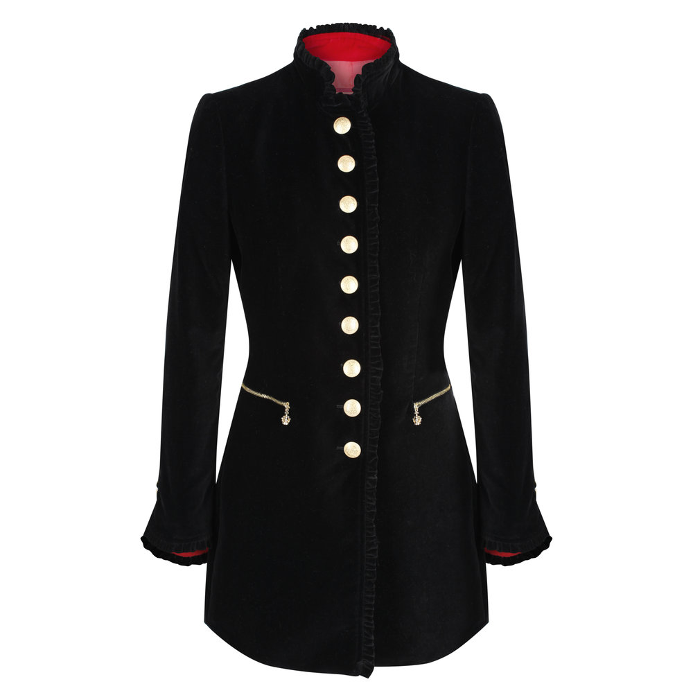 Welligogs Seville Black Velvet Coat, £295  Available from www.welligogs.com