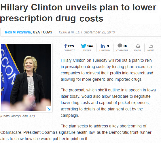 """Clinton started talking about the issue after the New York Times investigated the sudden price increase of Darapim, which treats toxoplasmosis.The drug became the property of a startup, Turing Pharmaceuticals, run by former hedge fund manager Martin Shkreli, who ran MSMB Capital. Turing """"immediately"""" raised the price from under $14 per tablet to $750 per tablet, according to the Times."""