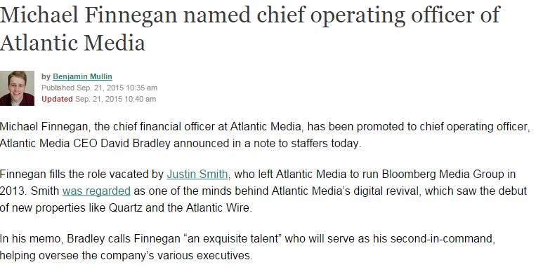 In addition to the Altantic and Quartz, Atlantic Media runs the Government Executive Media Group, which publishes NextGov, Defense One, and Route Fifty.