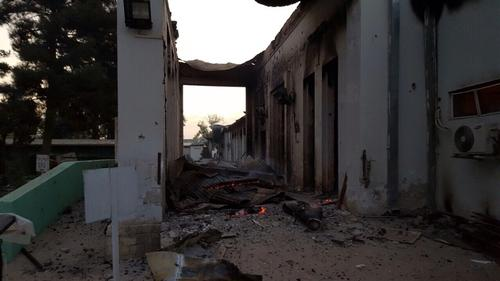 A destroyed area of the MSF hospital in Kunduz, Afghanistan is visible at first light on 03 October 2015, the morning after the facility was hit by sustained bombing. (Photo: MSF)