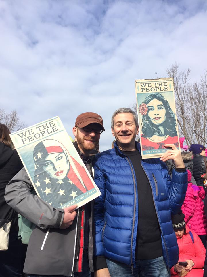 The author's brother and father at the Women's March Boston.