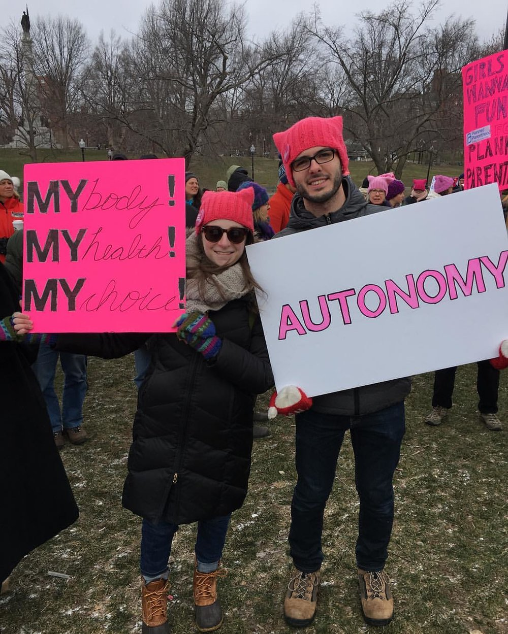 The author and her partner at a Planned Parenthood rally in Boston.