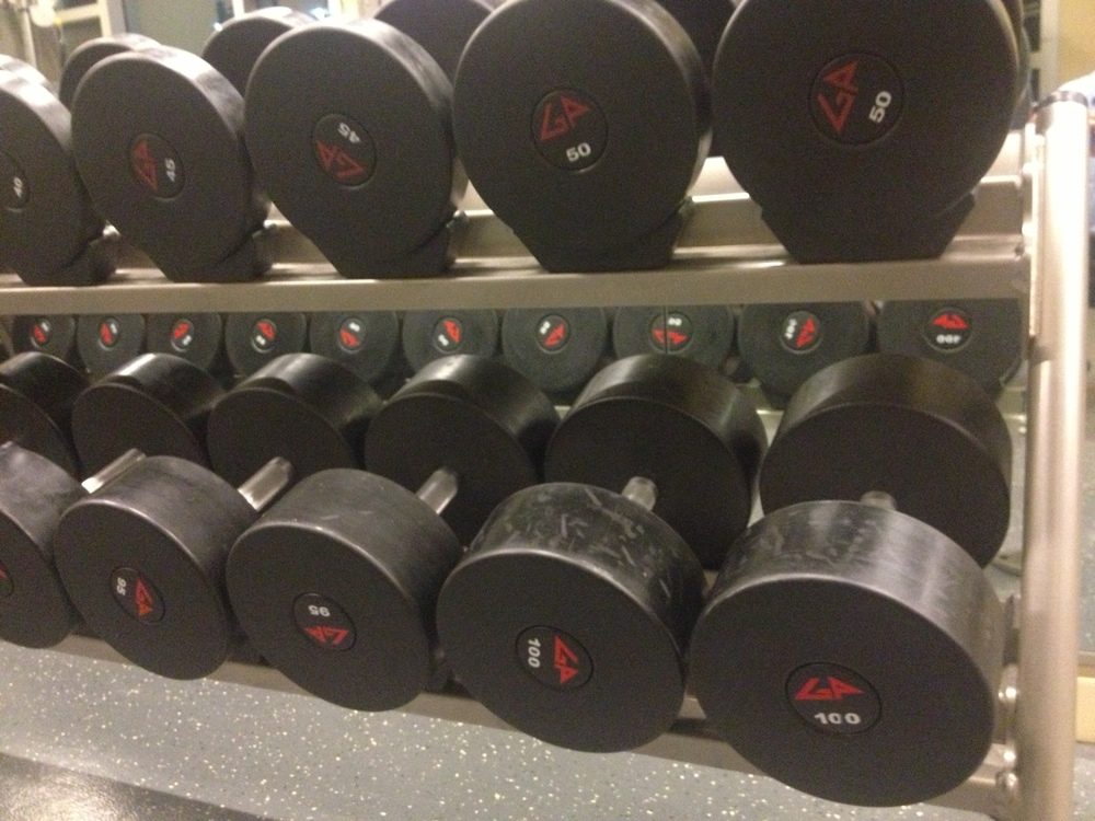 You dont often find 100 lb dumbbells at a hotel gym.  I had to find something to do with them.