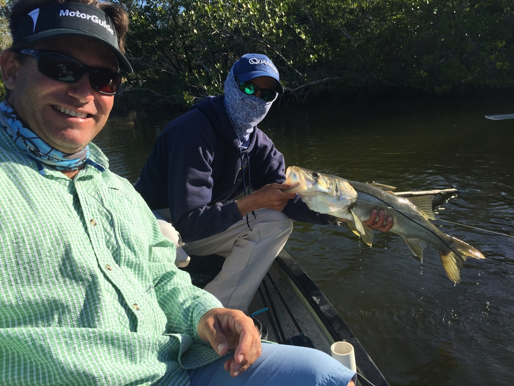 Rich and Richard Black with my snook from a Gheenoe in the No Motor Zone in the Everglades National Park.  Tons of Crocs up here too.