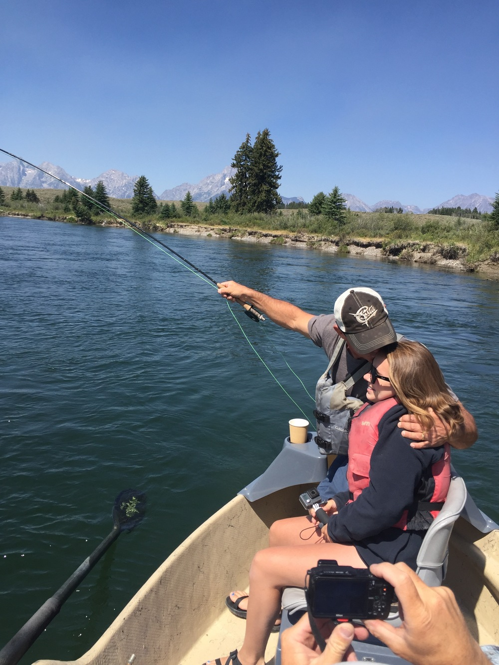How does it get better than this?  A fish on, the Tetons in the background and a hug and a kiss from my favorite girl...all at the same time!