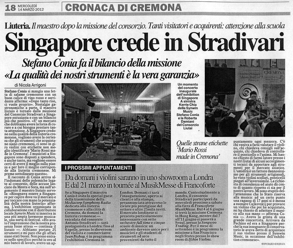 Nicole Chong, 7 years old, making the headlines in Cremona for her performance in Singapore