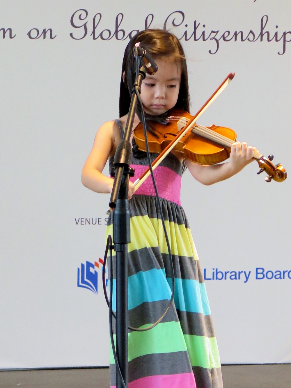 Ellie Layson, 4 years old, making her debut public performance at the National Library Board