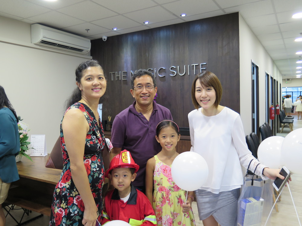 Teacher Tingxi with Joshua, Jocelyn and family