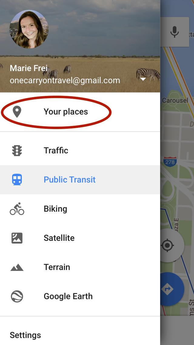 Your Places / Offline Maps