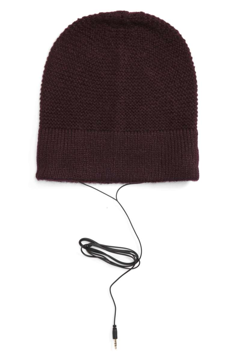 Listen to your favorite tunes in the cold with  Rebecca Minkoff's slouchy beanie with headphones