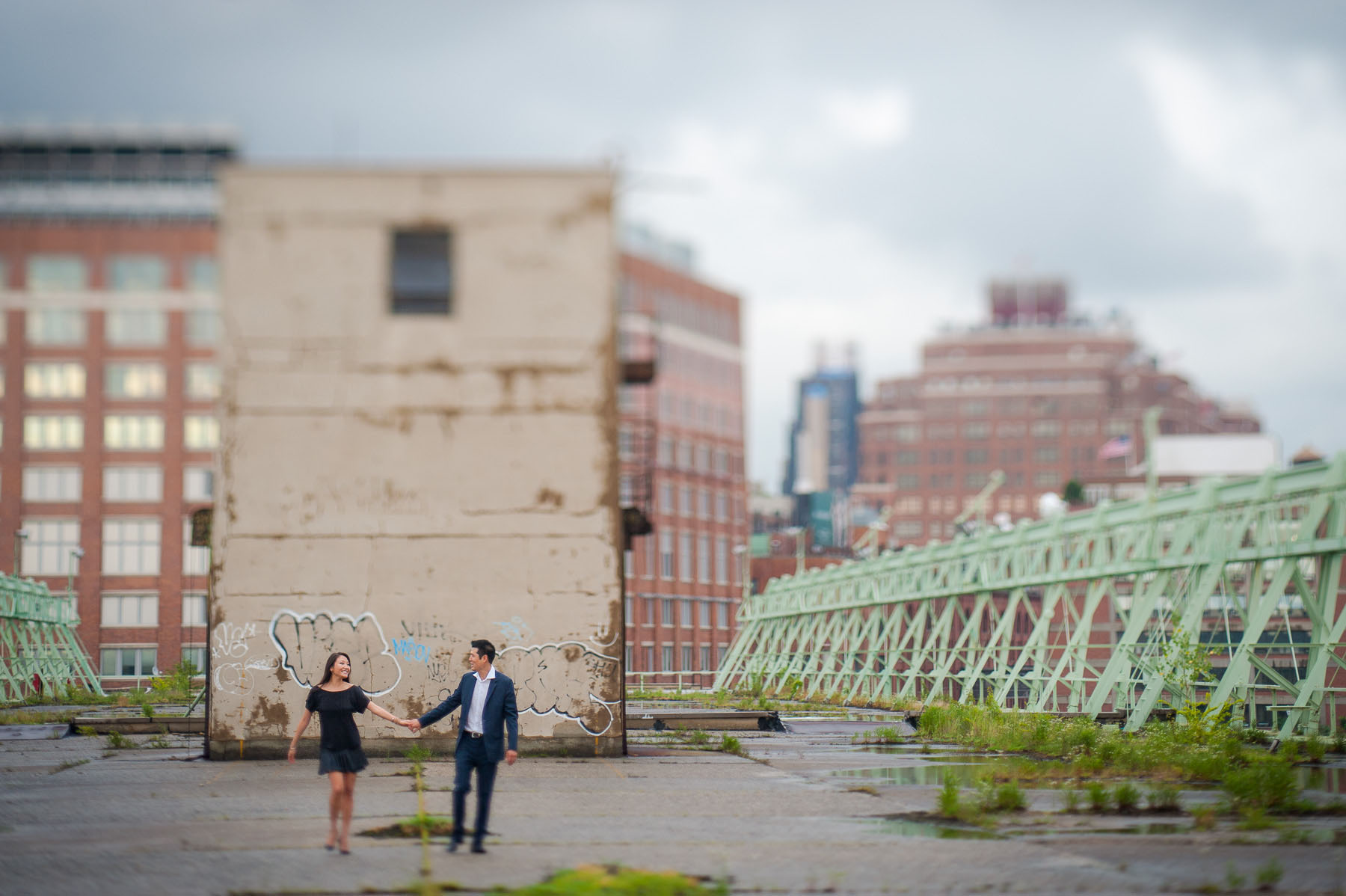 Michelle and Eric's meatpacking district and Pier 57 engagement photo shoot.