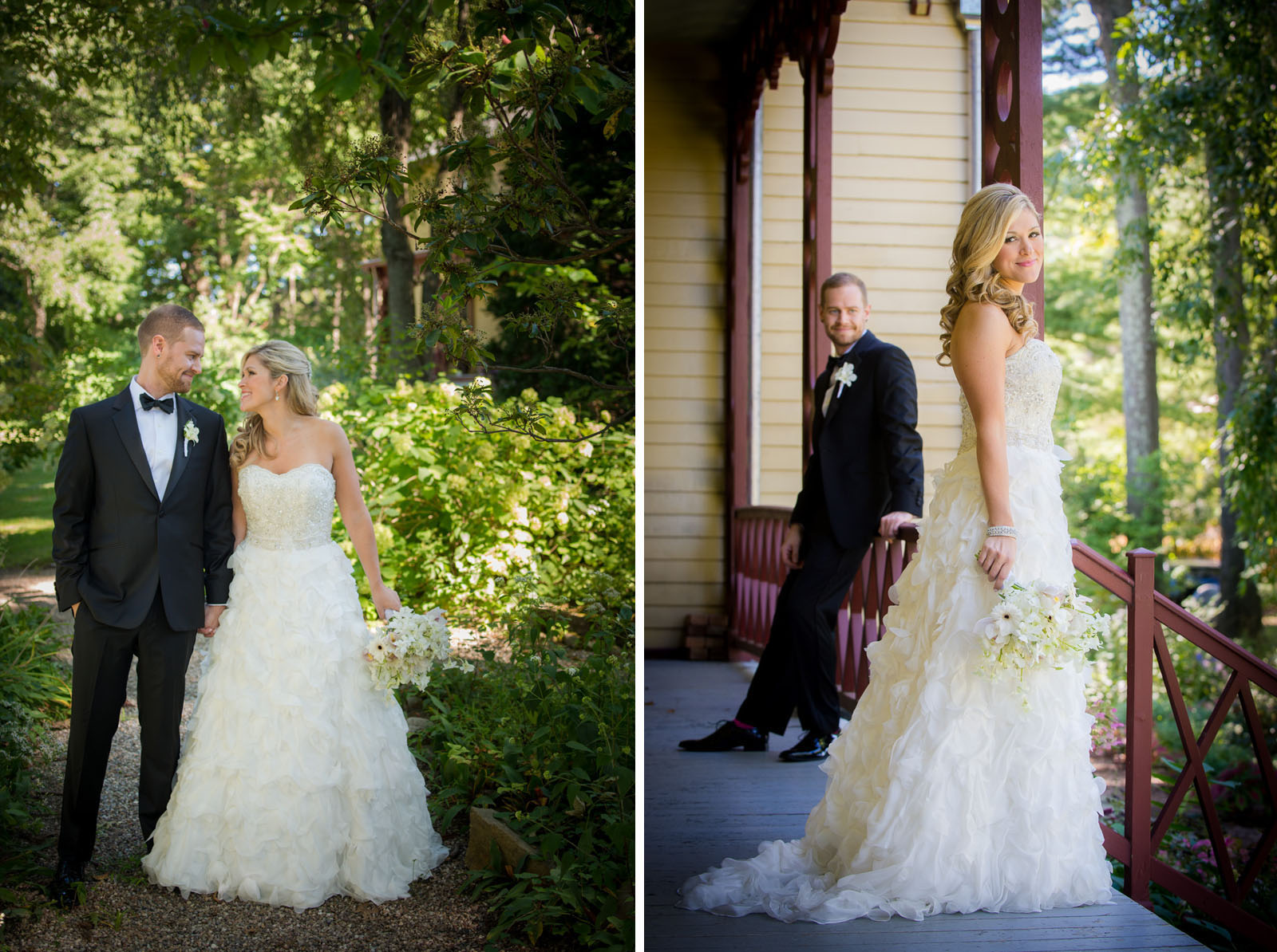 Grooms wedding tux by MySuitNYC, Bride's wedding dress by Martina Liana