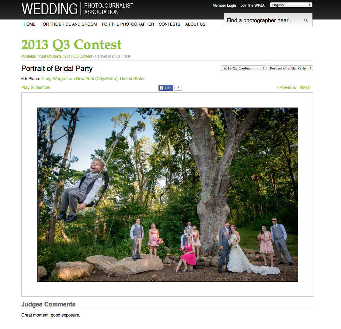 Craig Warga Wedding Photography Award winning
