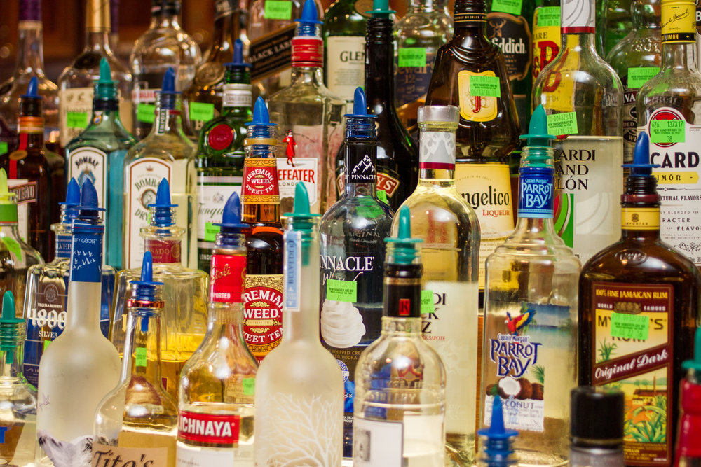 Alcoholic Beverages, fully stocked, at Jack Mackerel's in Kure Beach, North Carolina