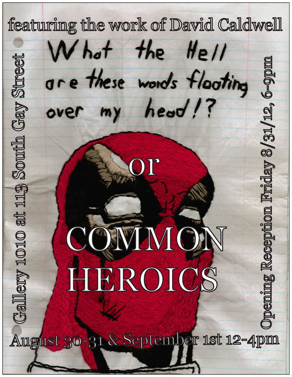 Post card from the solo show Common Heroics.