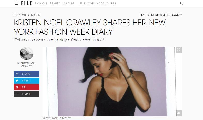 Kristen Noel Crawley // NYC // ELLE MAGAZINE