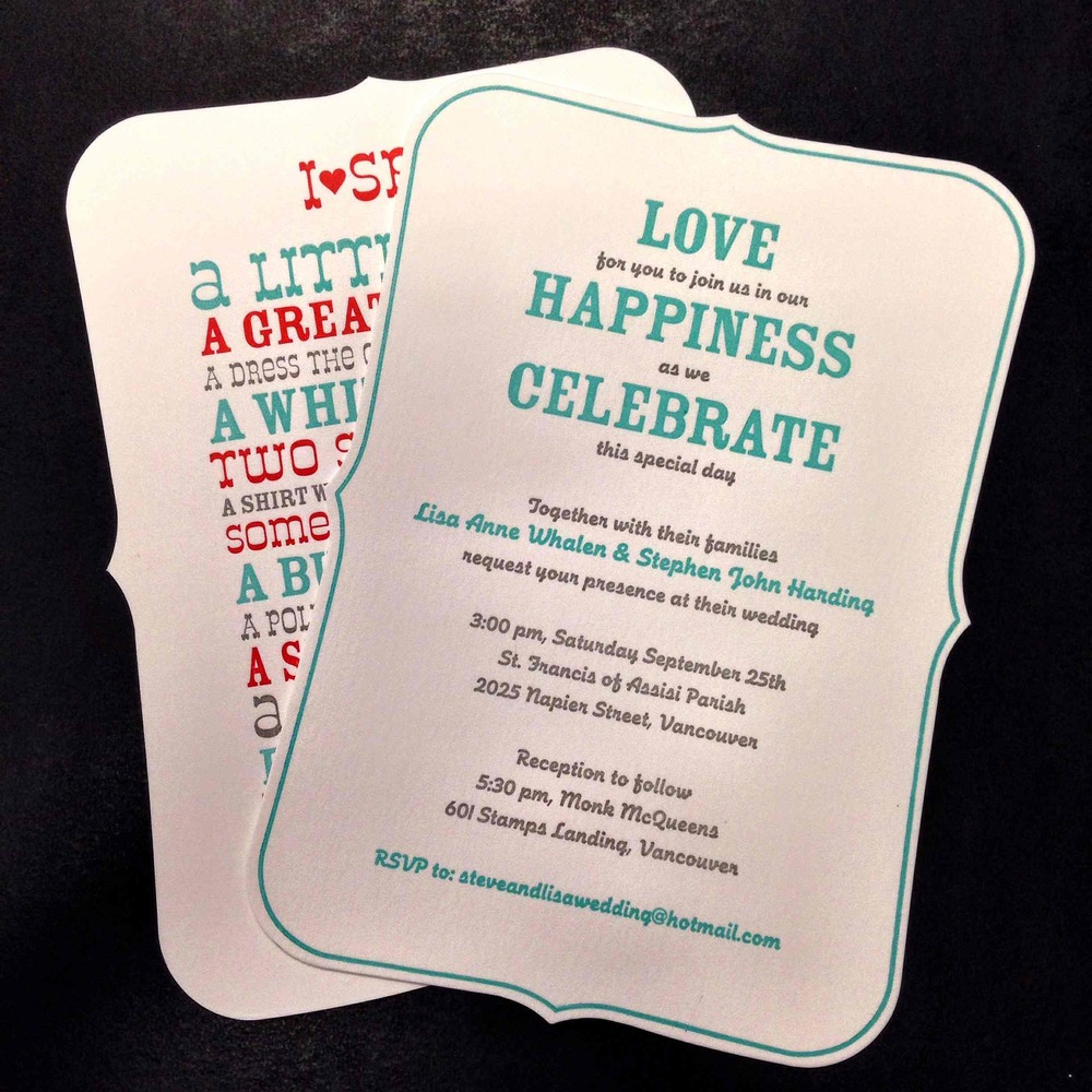 Die cut, laminated speciality wedding invitations.