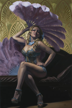 """Sophie Champagne"" Oil and Gold Leaf on Panel, 36"" x 24"""
