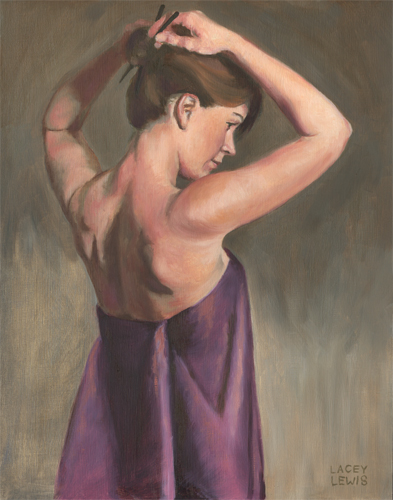"""Amy Pinning Her Hair"" Oil on Panel 14"" x 11"""