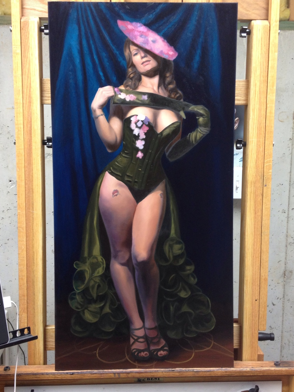"""The Strawberry Siren II"" Oil on Panel 36"" x 18"" IN PROGRESS"