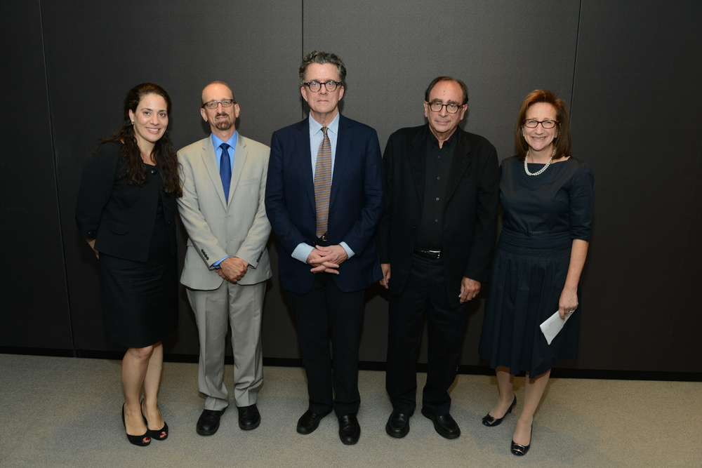 Judge Fatima Shama, MC Brian Lehrer, Judge Kurt Andersen, Judge R.L. Stine, and Revson President Julie Sandorf