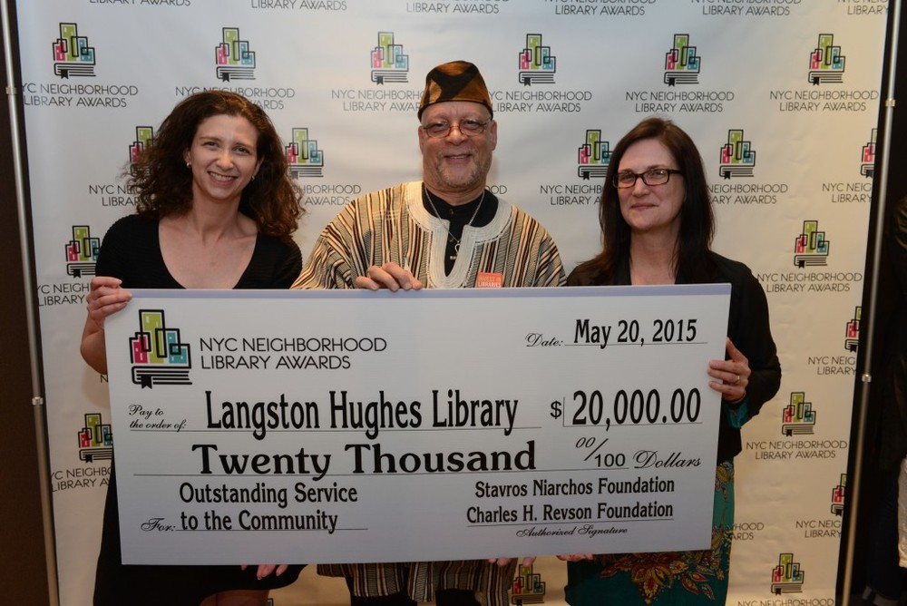 L to R: Library Awards Judge Julie Strauss-Gabel, Langston Hughes Library Manager Andrew Jackson, and QL Interim President Bridget Quinn-Carey