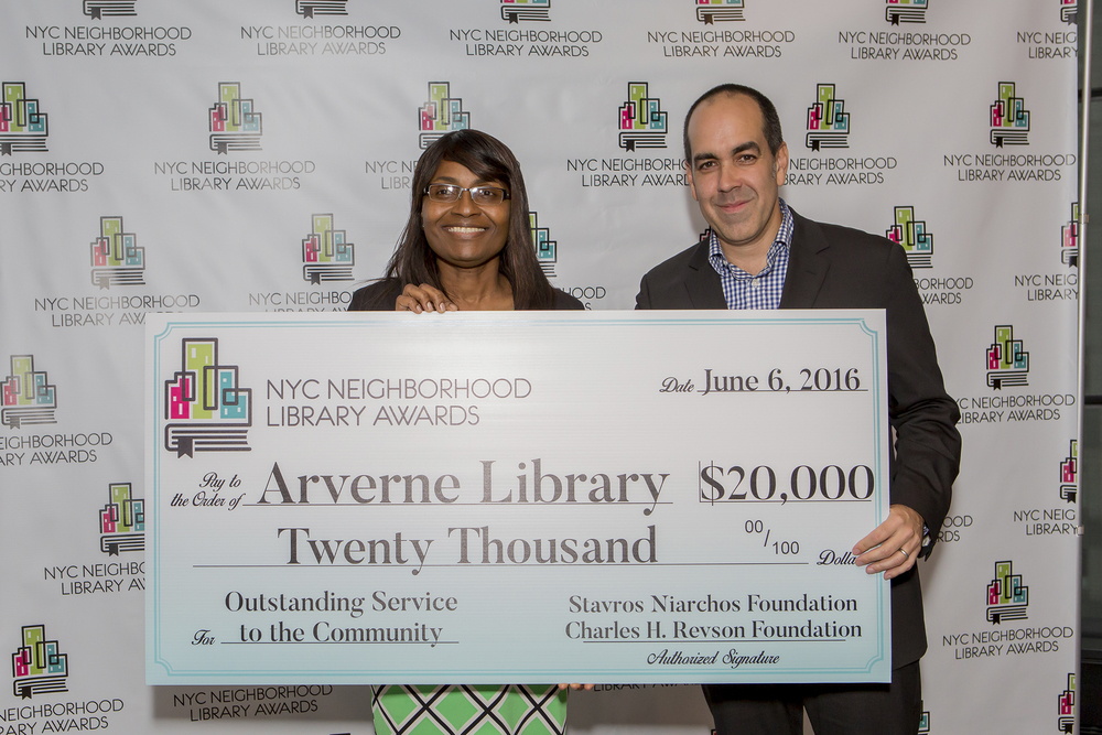 Nicole Gordon, Manager of the Arverne Library and Richard Reyes Gavilan, Executive Director of the D.C. Public Library & Library Awards Judge