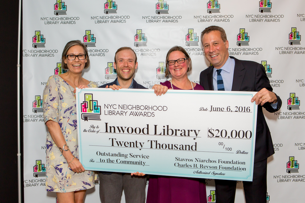 Staff Members of the Inwood Library and Tony Marx, President and CEO of the New York Public Library