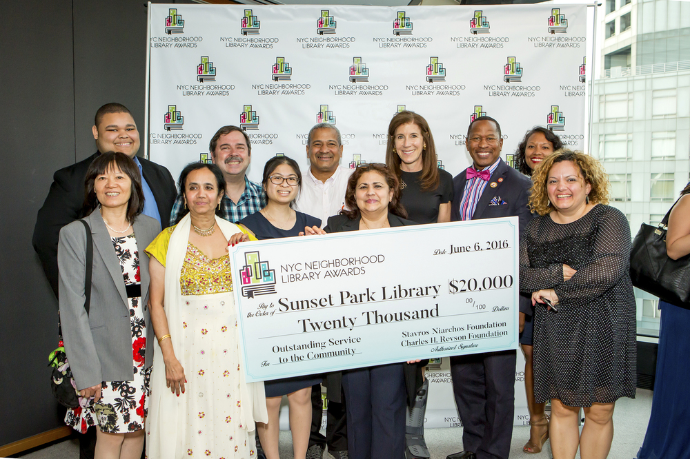 Staff of the Sunset Park Library and Council Member Andy King