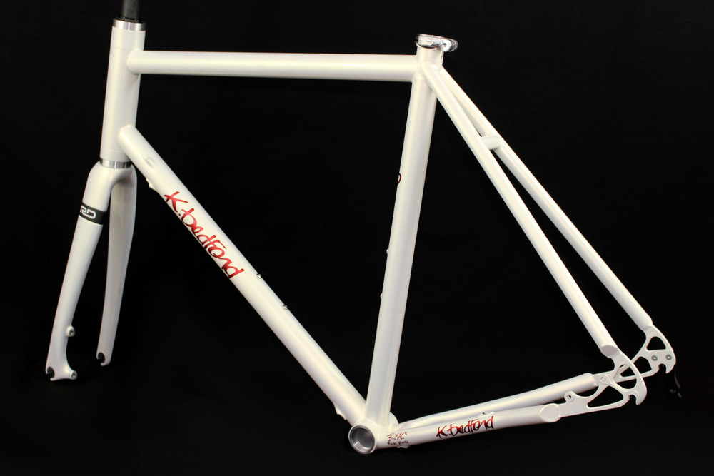 Titanium road frameset in Pearl White with Disc Brake Package and internal cable routing upgrade.
