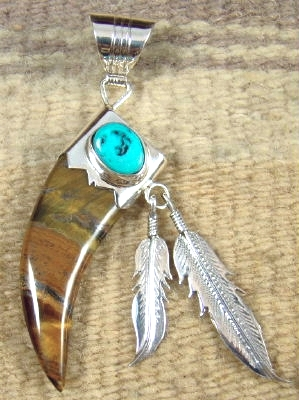 Item 666w navajosouthwest carved tiger eye bear claw pendant w item 666w navajosouthwest carved tiger eye bear claw pendant wturquoise and feathers by running bear mozeypictures Image collections