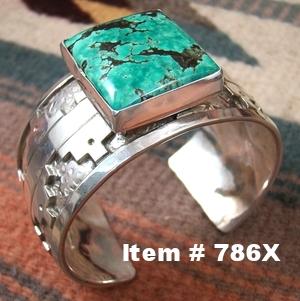 Men's Wide Heavy Navajo Turquoise Silver Overlay Bracelet by T.Teller