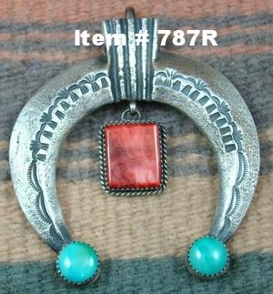 Lg Navajo Turquoise Spiny Oyster Sandcast Naja Pendant by M.Cayatineto