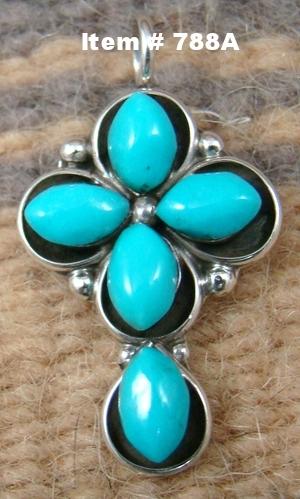 Sm Zuni 5 Stone Turquoise Cross Pendant/Charm by Natewa