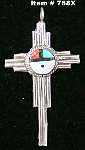 Zuni Zia Sunface Cross Pendant by C.Cheama