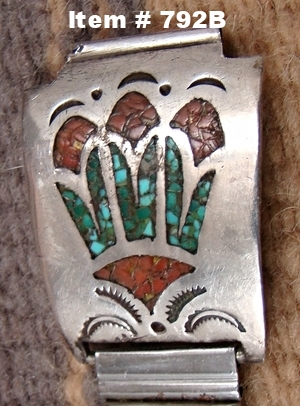Vintage Navajo Turquoise Coral Inlay Roses Watchband