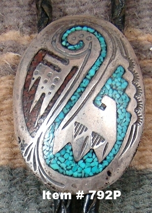 Vintage Navajo Turquoise Coral Inlay Collector's Bolo by Tommy Singer