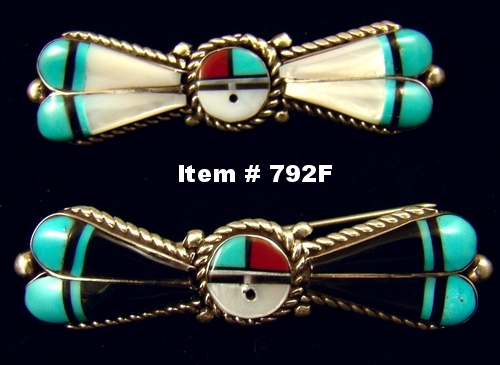 Zuni Multi Stone Inlay Sunface Feathered/Winged Brooch-Pins