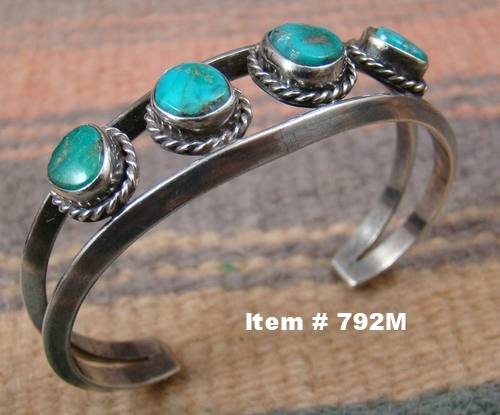 Vint Navajo 4pc Turquoise Carinated Wire Bracelet