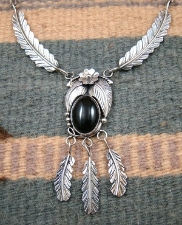 Item #757A- Navajo Onyx Decorated Flower - Feathers Necklace