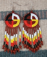 Item # 365E- Beaded Medicine Wheel Rosette Earrings