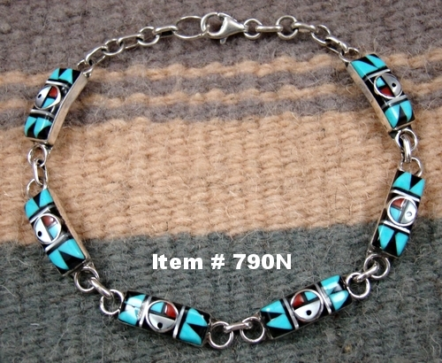 Zuni Multi Stone Geometrical Inlay Sunface Link Bracelets by CC Booqua