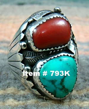 Heavy Vint Navajo Turquoise Coral Decorated Cast Ring by P.Claw Sz 11