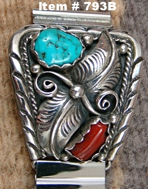 Navajo Turquoise Coral Double Leaf Decorated Watchband