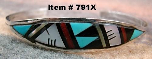 Zuni Multi Stone Geometrical Inlay Bracelet