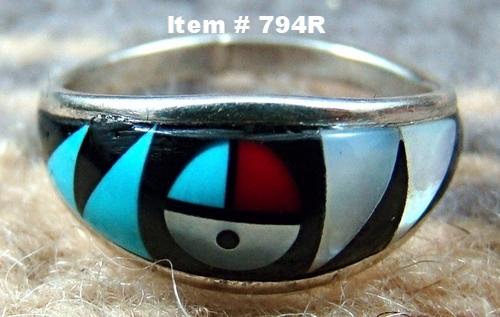 Ladies Zuni Multi Stone Geometrical Inlay Sunface Ring Sz 5 3/4