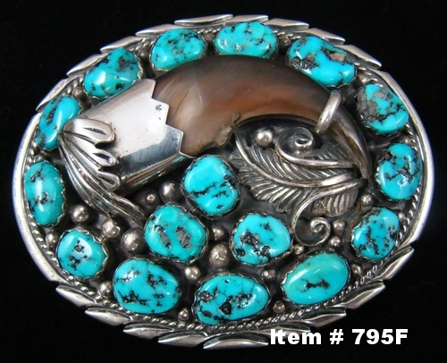 Vintage Navajo 16 Stone Turquoise Bear Claw Belt Buckle by M.Tsosie