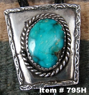 Vint 60's-70's Navajo Turquoise Decorated Bolo