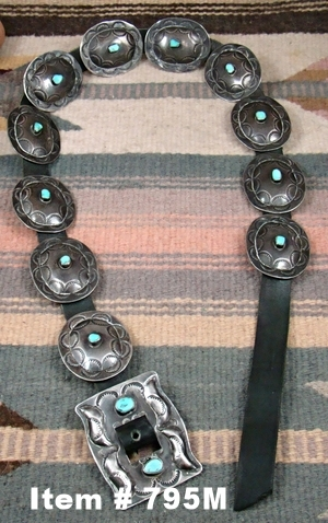 Vintage 50's-60's Navajo 12pc Turquoise Decorative Stamped Concho Belt
